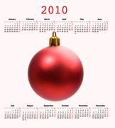 Kalenteri vuoden 2010 joulu pallo Kuvituskuvat