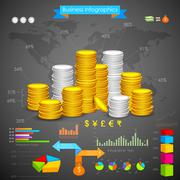 Stock Illustration of Coin Bar graph Business Infograph