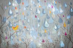Rain drops falling on trees and a bird Stock Illustration