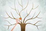 Stock Illustration of A hand picking the last apple from a bare tree