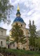The belfry at vydubichi monastery. Stock Photos