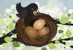 A bird in a nest with three eggs Stock Illustration