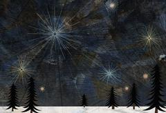 Stock Illustration of Stars glistening in the sky above pine trees and snow on the ground