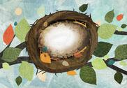 Stock Illustration of An empty birds nest in a tree