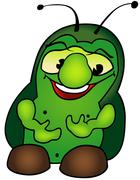 Green Fat Bug - stock illustration