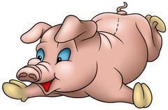 Laying Piglet Stock Illustration