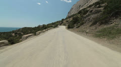 Winding coastal road along Black Sea Stock Footage