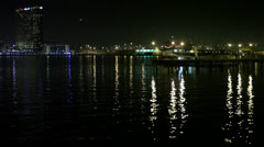 San Diego Harbor at Night HD Video Stock Footage