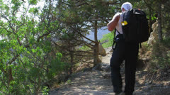 Hiker On The Golitsyn Trail Track Stock Footage