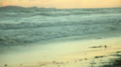 Blue Waves Hitting Shore In Rosarito HD Video Stock Footage