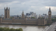 Stock Video Footage of HD1080p25 The Palace of Westminster with Big Ben and Westminster Bridge
