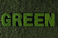 The word green on turf Stock Photos