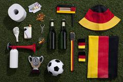 Sporting equipment and accessories arranged on turf Stock Photos
