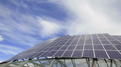 Solar Panel System in Portland Oregon Supplying Electricity Timelapse Stock Footage