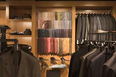 Ties on display in a menswear store - stock photo