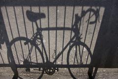A stationary racing bike, focus on shadow Stock Photos