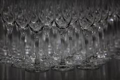 Abundance of champagne flutes in a row Stock Photos