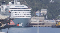 Moored luxury cruise ship Seabourn Odyssey Stock Footage