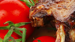 Savory course: grilled ribs Stock Footage