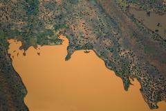 Aerial view of uncultivated landscape Stock Photos