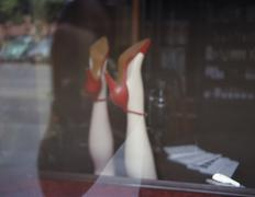 Mannequin legs with red shoes Stock Photos