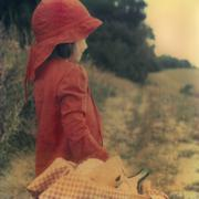 Side view of a young girl holding a picnic basket Stock Photos