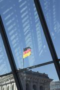 Reichstag viewed through window inside Jakob-Kaiser-Haus Stock Photos