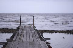 Wood bridge - stock photo