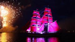 Sailing ship and fireworks Stock Footage