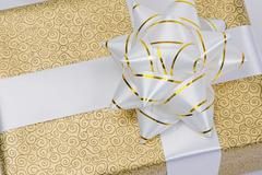 beautiful golden gift - stock photo