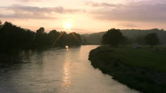 Summer Evening at Mulde River - Saxony, Germany Stock Footage