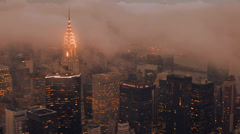 new york city night time lapse skyline foggy clouds - stock footage