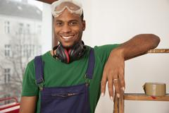 A man preparing to do a home improvement project Stock Photos