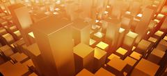 Orange three dimensional rectangular shapes Stock Illustration