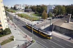 A street scene with a tram, tilt-shift, Berlin, Germany Stock Photos