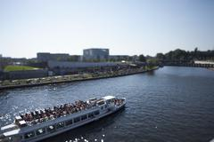 A tour boat on the Spree River, Germany, tilt-shift Stock Photos