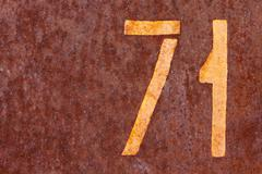 Rusty background with number seventy one Stock Photos
