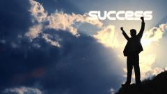 Businessman Success Text Title Raising Hands Promotion Vicotory Concept HD Stock Footage