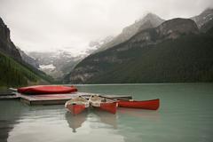 Canoes on Lake Louise, Banff National Park, Alberta, Canada Stock Photos