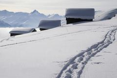 Foot path leading to three snow-capped log cabins Stock Photos