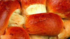 Challah over blue wood Stock Footage