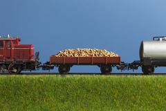 A miniature toy freight train Stock Photos