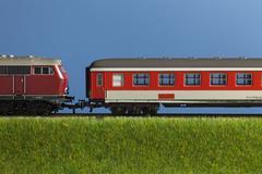 A miniature toy passenger train Stock Photos