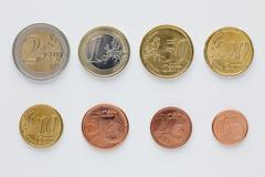Euro coins arranged in numerical order, front view Stock Photos