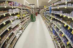 An aisle of a grocery store, diminishing perspective - stock photo