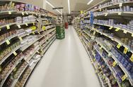 Stock Photo of An aisle of a grocery store, diminishing perspective