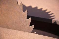 A circular saw blade, close-up Stock Photos