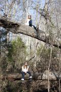 Two similar girls sitting on tree trunks in forest in Mooresville, North Stock Photos
