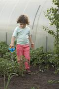 A young girl watering plants in a greenhouse - stock photo