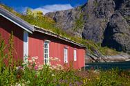 Norwegian fishing hut Stock Photos
